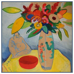 Buddha Vase of Wild Flowers Still Life by Expressionist Artist August Macke Counted Cross Stitch or Counted Needlepoint Pattern