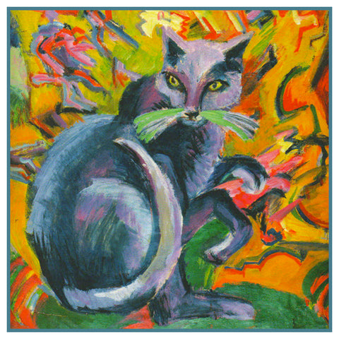 The Grey Cat on a Pillow by Ernst Ludwig Kirchner Counted Cross Stitch or Counted Needlepoint Pattern