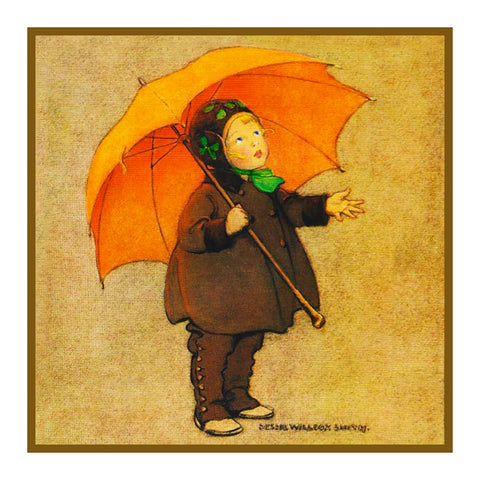 Autumn Showers and an Orange Umbrella By Jessie Willcox Smith Counted Cross Stitch or Counted Needlepoint Pattern