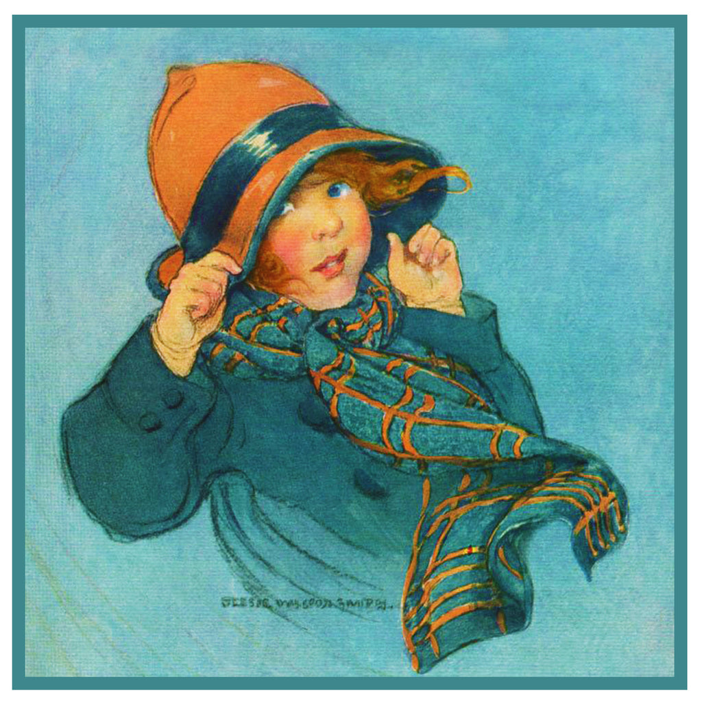 Young Girl and Autumn Winds By Jessie Willcox Smith Counted Cross Stitch Pattern