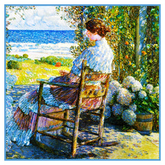 Gazing at Sea from Porch in Isle of Shoals by American Impressionist Painter Childe Hassam Counted Cross Stitch or Counted Needlepoint Pattern