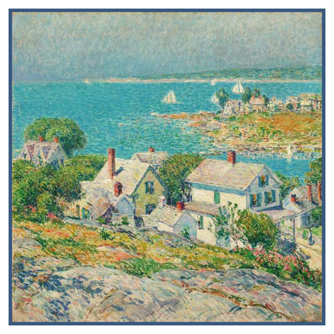 Headlands at Gloucester Massachusetts Seascape by American Impressionist Painter Childe Hassam Counted Cross Stitch Pattern