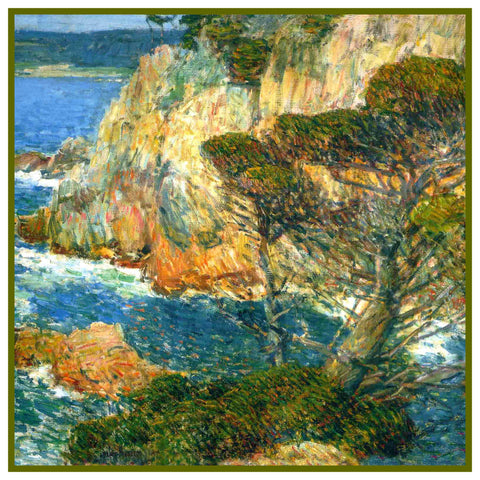 Sea and Surf at Point Lobos detail by American Impressionist Painter Childe Hassam Counted Cross Stitch Pattern