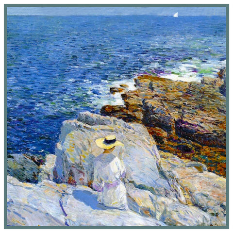 Reading on the Rocks on Appledore Island Maine by American Impressionist Painter Childe Hassam Counted Cross Stitch Pattern