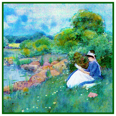 Woman Reading by a Pond in Maine by American Impressionist Painter Childe Hassam Counted Cross Stitch Pattern
