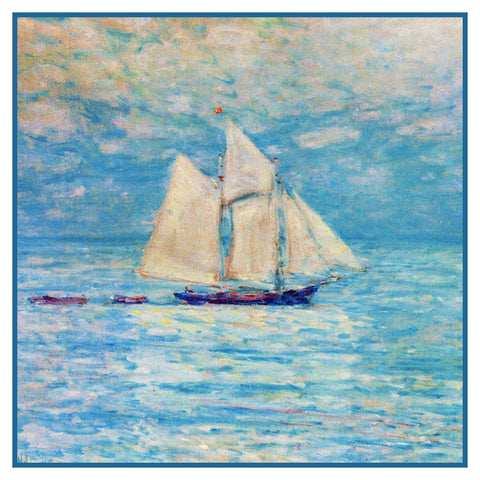 Sailing Ship at Sea Seascape by American Impressionist Painter Childe Hassam Counted Cross Stitch Pattern