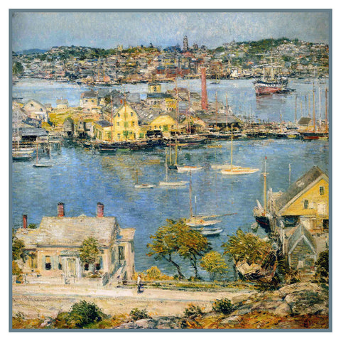 Harbor at Gloucester Massachusetts Seascape by American Impressionist Painter Childe Hassam Counted Cross Stitch Pattern
