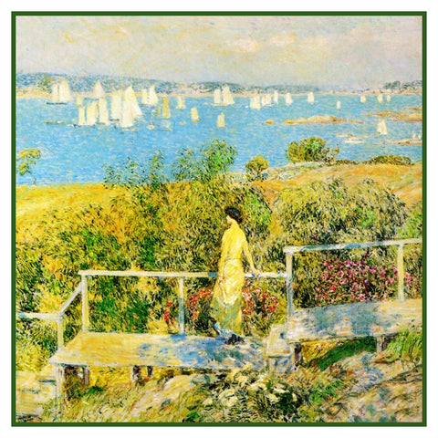 Watching Sailboats in Gloucester Massachusetts Seascape by American Impressionist Painter Childe Hassam Counted Cross Stitch Pattern