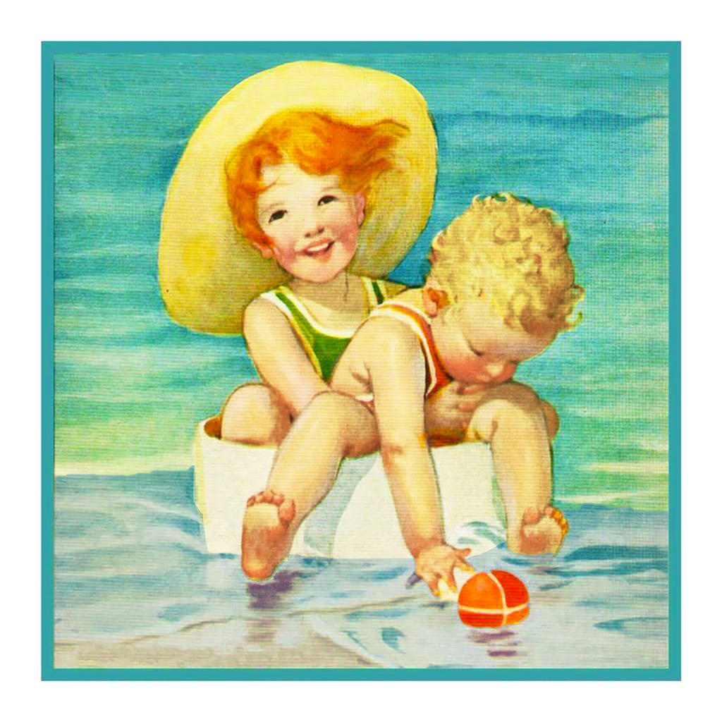 Children Playing at The Beach By Jessie Willcox Smith Counted Cross Stitch  Pattern - Orenco Originals LLC