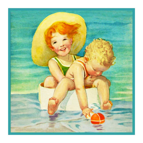 Children Playing at The Beach By Jessie Willcox Smith Counted Cross Stitch or Counted Needlepoint Pattern
