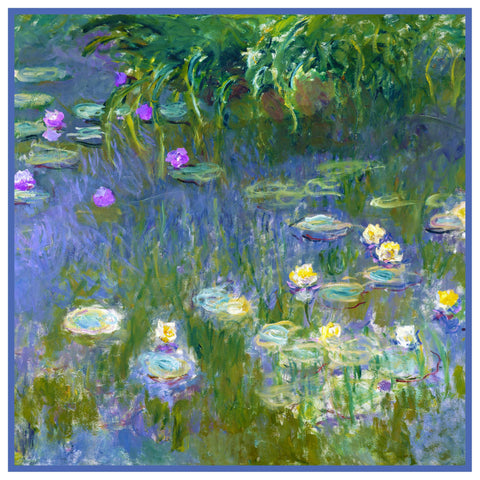 Water Lilies inspired by Claude Monet's impressionist painting Counted Cross Stitch Pattern DIGITAL DOWNLOAD