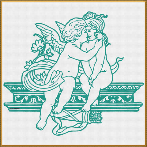 Contemporary Cupid Kissing with Acanthus Vine Sew So Simple ™ Counted Cross Stitch or Counted Needlepoint Pattern
