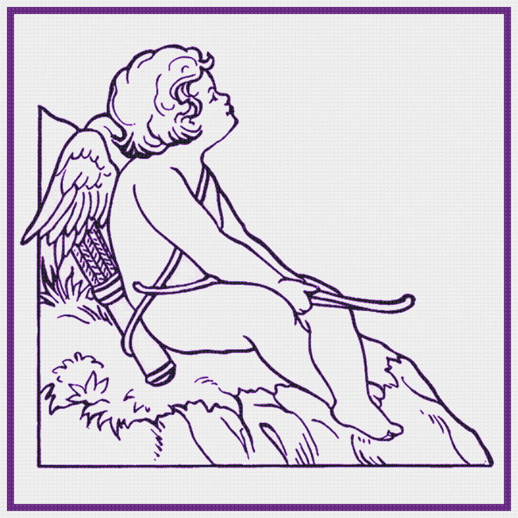Contemporary Cupid With Arrow Sew So Simple ™ Counted Cross Stitch or Counted Needlepoint Pattern