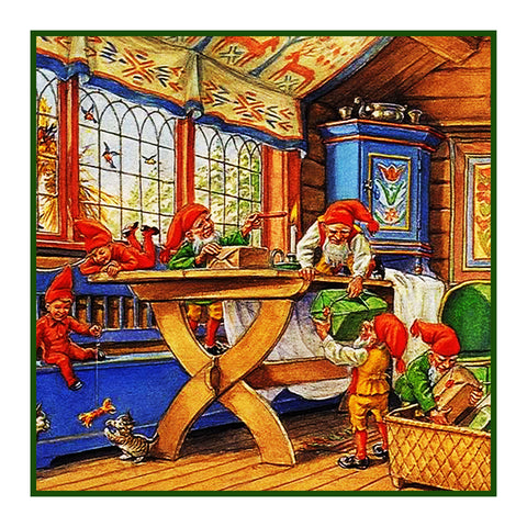 Elves Decorate for Nordic Christmas Detail #1 Jenny Nystrom  Holiday Christmas Counted Cross Stitch or Counted Needlepoint Pattern