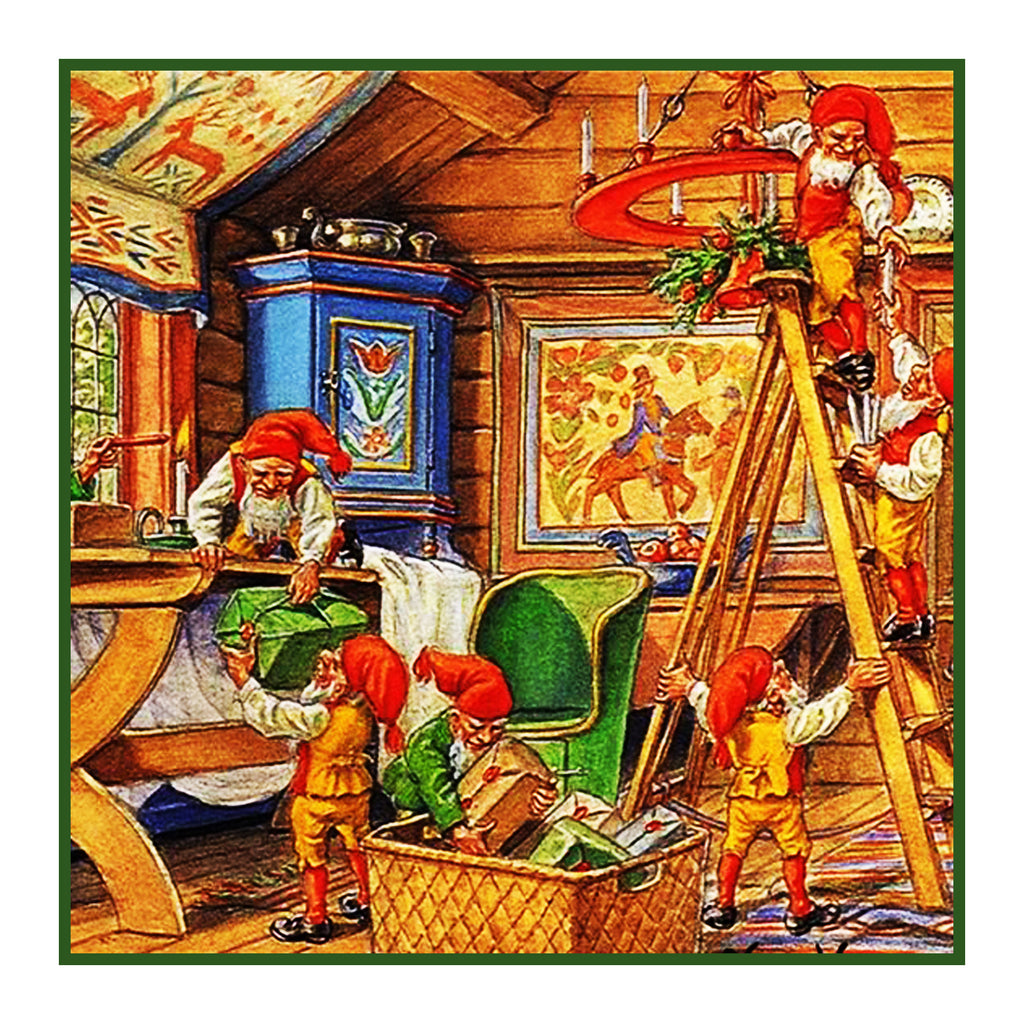 Elves Decorate for Nordic Christmas Detail #2 Jenny Nystrom  Holiday Christmas Counted Cross Stitch or Counted Needlepoint Pattern