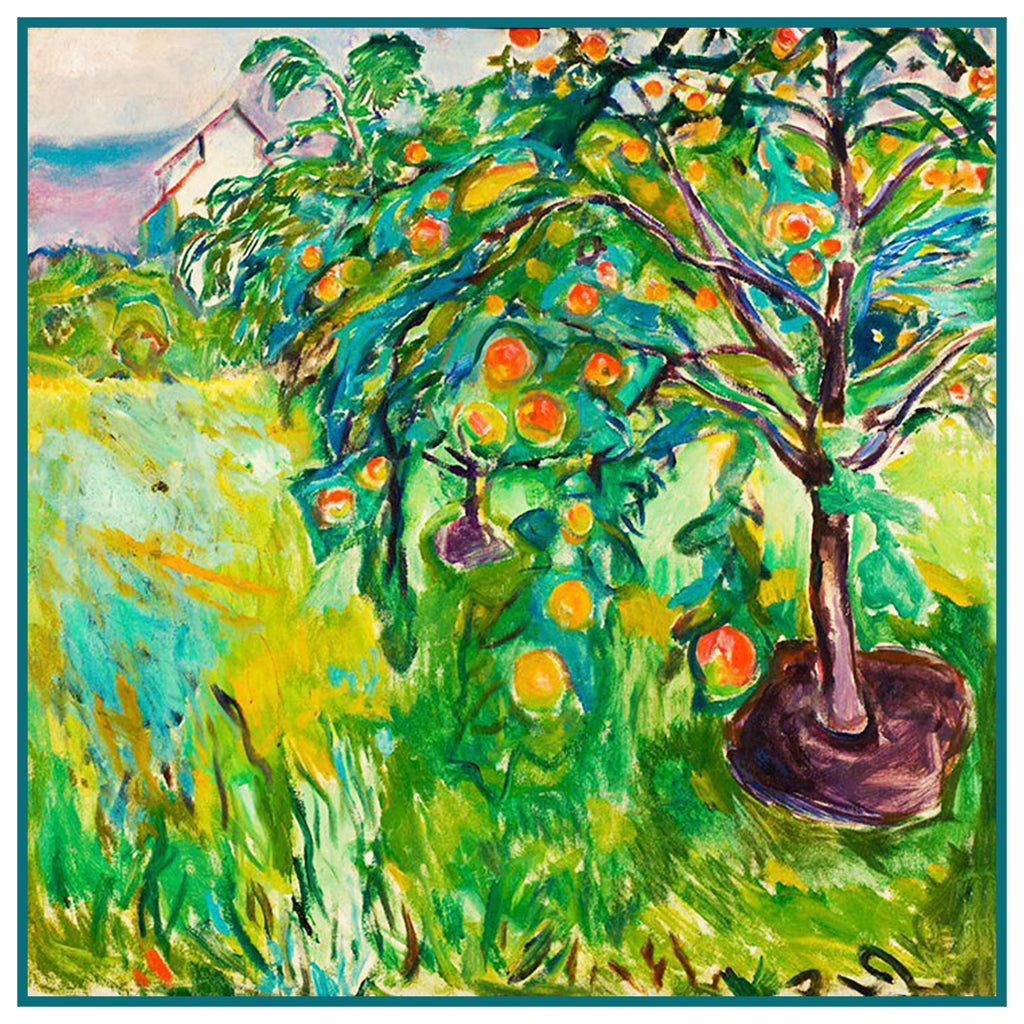 Apple Tree by the Studio Landscape by Symbolist Artist Edvard Munch Counted Cross Stitch  Pattern - Orenco Originals LLC