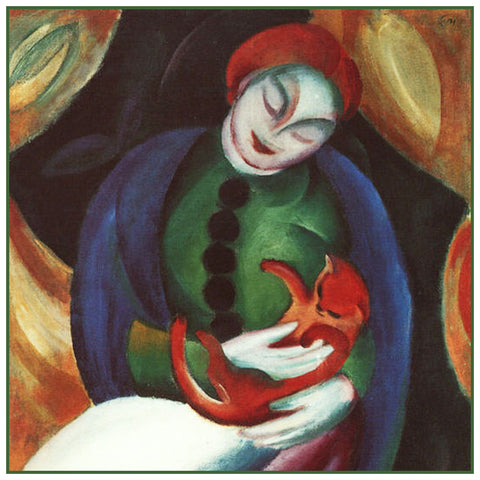 Woman Holding a Kitty Cat by Expressionist Artis Franz Marc Counted Cross Stitch or Counted Needlepoint Pattern