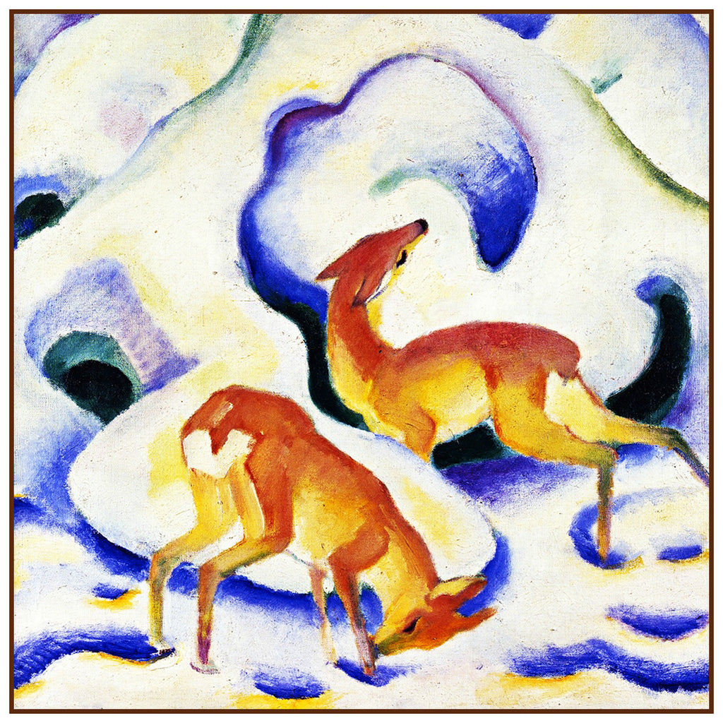 Deer Playing in the Snow by Expressionist Artis Franz Marc Counted Cross Stitch or Counted Needlepoint Pattern - Orenco Originals LLC