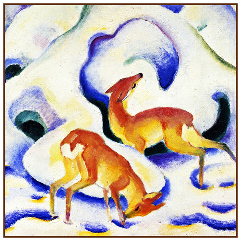 Deer Playing in the Snow by Expressionist Artis Franz Marc Counted Cross Stitch or Counted Needlepoint Pattern
