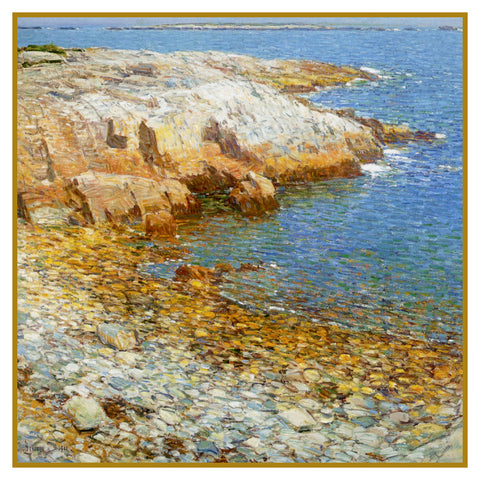 Beach at Broad Cove in Isle of Shoals by American Impressionist Painter Childe Hassam Counted Cross Stitch Pattern