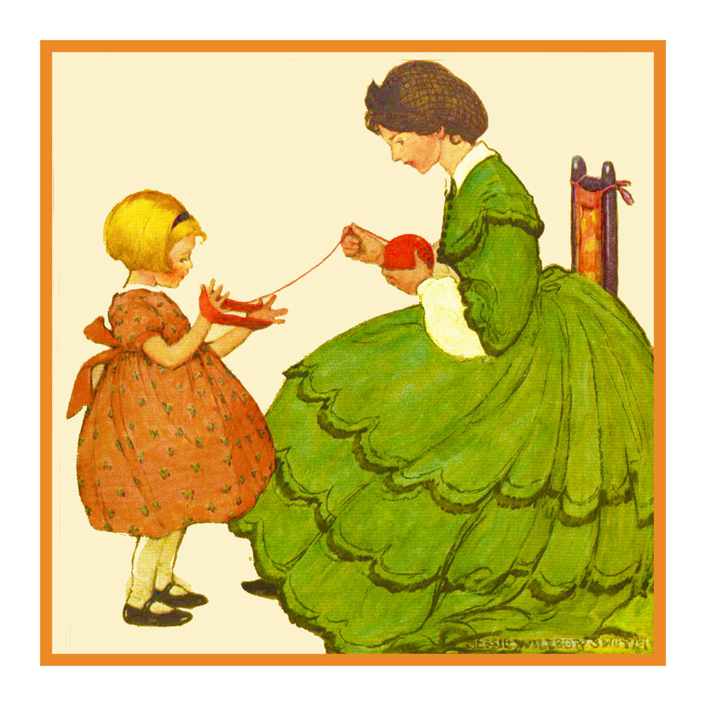 Little Girl helping Her Mother Wind Yarn By Jessie Willcox Smith Counted Cross Stitch or Counted Needlepoint Pattern