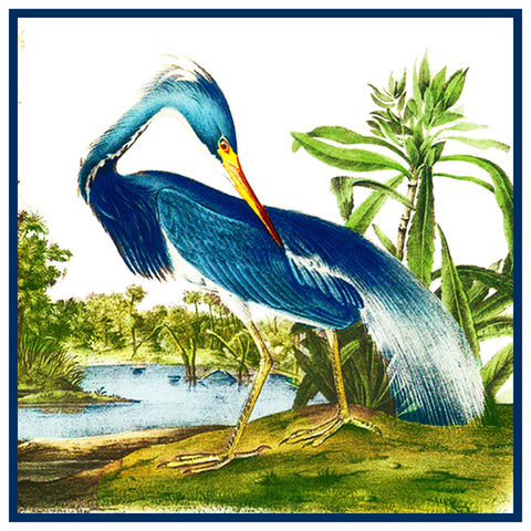 Great Blue Heron Bird Illustration by John James Audubon Counted Cross Stitch Pattern