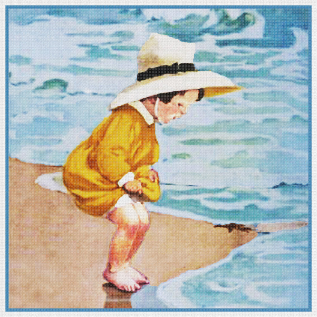 Young Child at The Waters Edge By Jessie Willcox Smith Counted Cross Stitch Pattern