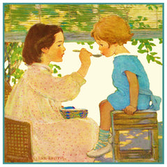 Big Sis Feeds Little Sister By Jessie Willcox Smith Counted Cross Stitch or Counted Needlepoint Pattern - Orenco Originals LLC