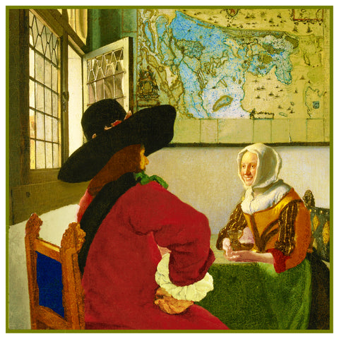 Officer and Laughing Girl by Johannes Vermeer Counted Cross Stitch Pattern