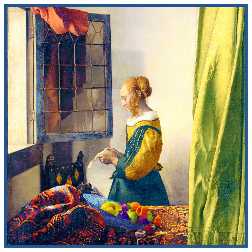 Girl Reading Letter by a Window by Johannes Vermeer Counted Cross Stitch Pattern