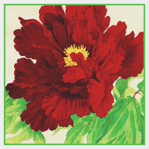 Tanigami Konan Asian Red Peony Flower detail Counted Cross Stitch Pattern DIGITAL DOWNLOAD