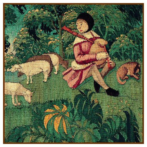 Shepherd  Detail From St Etienne from Medieval Tapestry Counted Cross Stitch Pattern