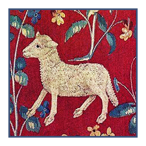 Lamb Detail from the Lady and The Unicorn Tapestries Counted Cross Stitch or Counted Needlepoint Pattern