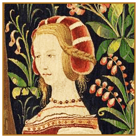 Maiden in Red Detail From a  Medieval Tapestry Counted Cross Stitch Pattern