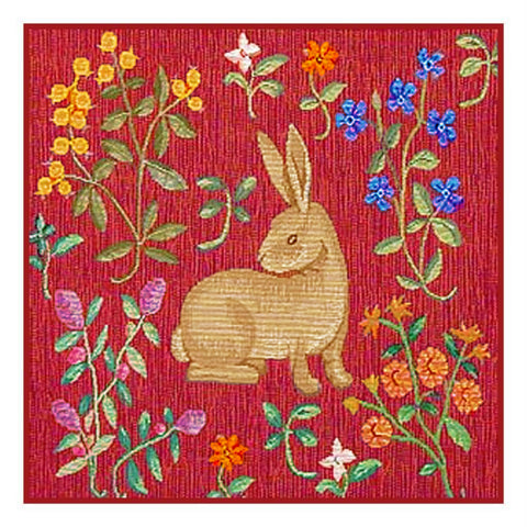 Resting Rabbit Detail from the Lady and The Unicorn Tapestries Counted Cross Stitch or Counted Needlepoint Pattern