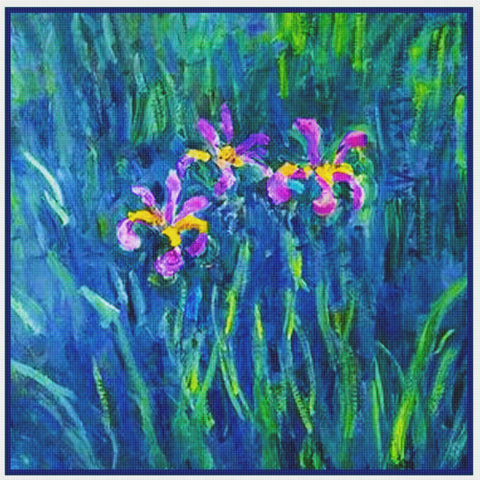 Impressionist Claude Monet Garden Irises at Giverny Counted Cross Stitch Pattern