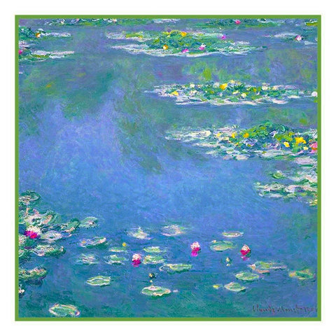 Water Lilies in Blues inspired by Claude Monet's Impressionist painting Counted Cross Stitch Pattern DIGITAL DOWNLOAD
