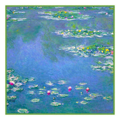 Water Lilies in Blues inspired by Claude Monet's impressionist painting Counted Cross Stitch Pattern