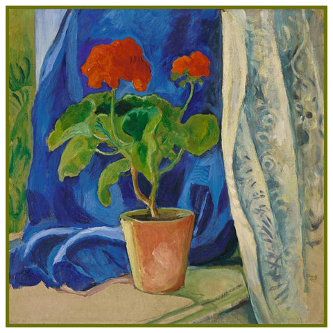 Red Geranium Pot Still Life by Expressionist Artist August Macke Counted Cross Stitch Pattern