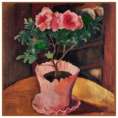 Pink Azalea Pot Still Life by Expressionist Artist August Macke Counted Cross Stitch Pattern