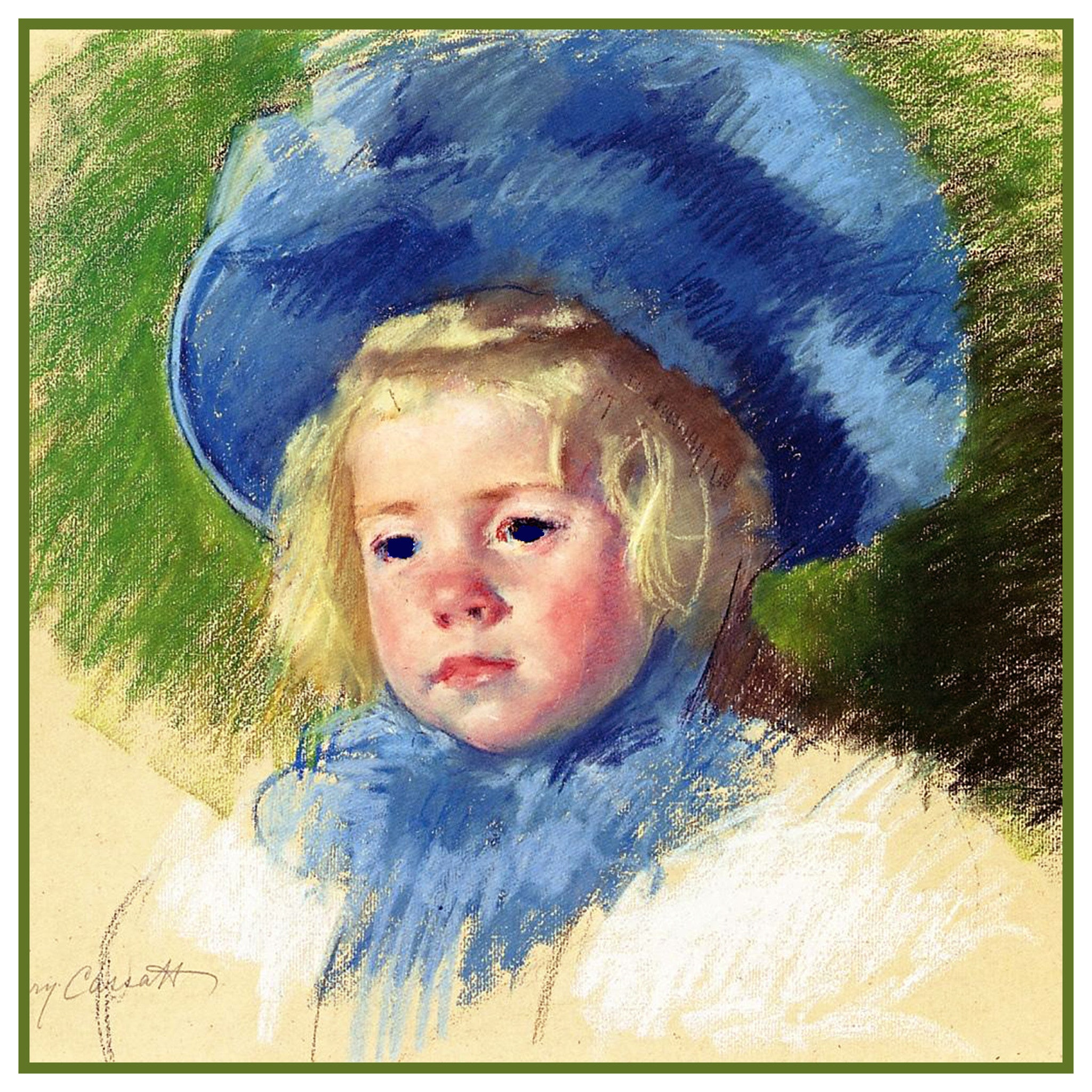 Simone And Her Blue Hat By American Impressionist Artist Mary Cassatt Counted Cross Stitch Or Needlepoint Pattern