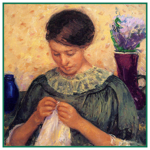 Lydia Sewing Embroidering by American Impressionist Artist Mary Cassatt Counted Cross Stitch Pattern