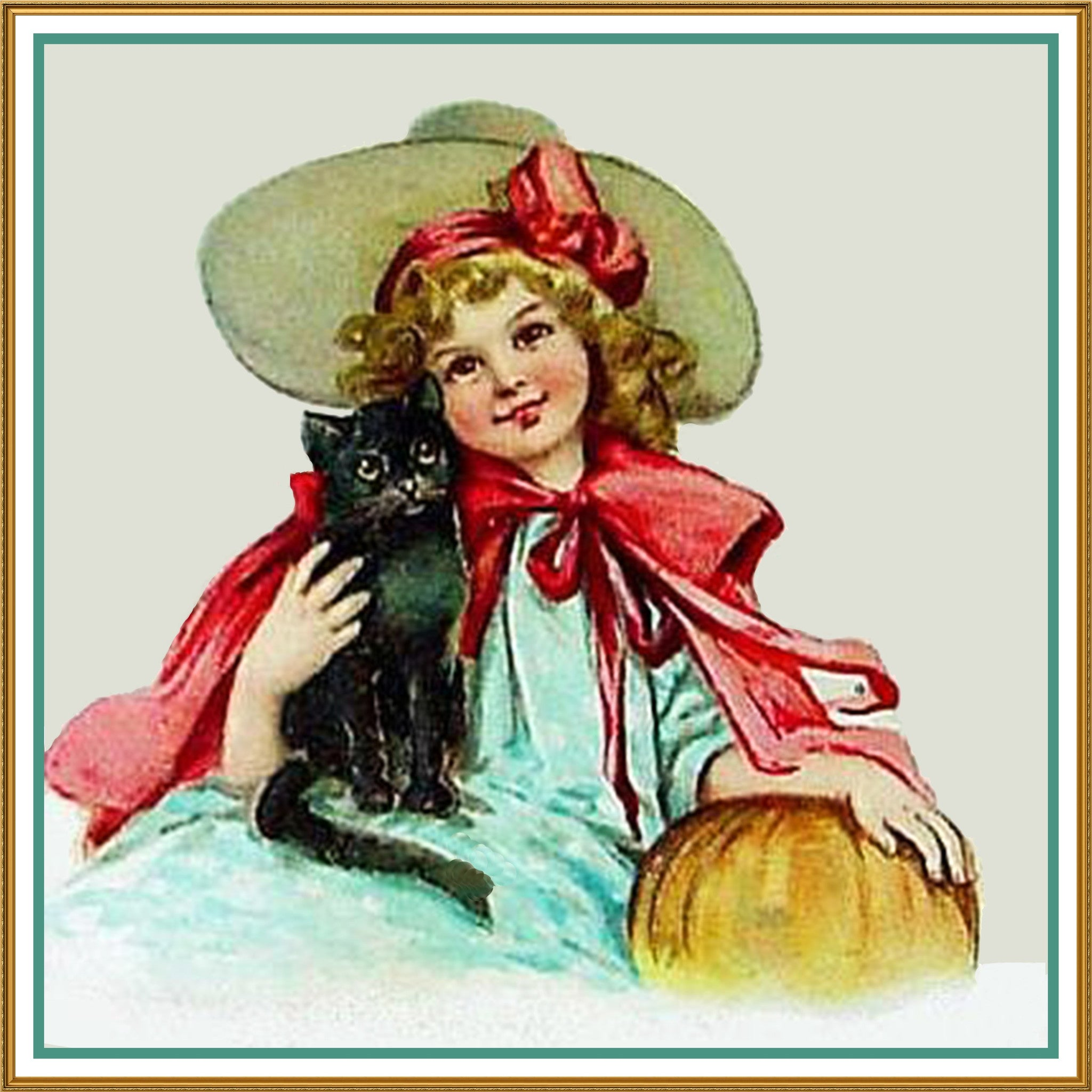 Vintage Halloween Girl Black Cat Pumpkin by Frances Brundage ...
