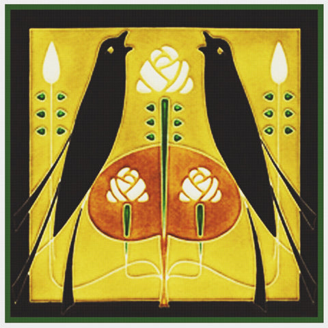 Song Birds By Talwin Morris Arts and Crafts Style Counted Cross Stitch Pattern DIGITAL DOWNLOAD