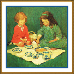 A Tea Party Picnic By Jessie Willcox Smith Counted Cross Stitch or Counted Needlepoint Pattern - Orenco Originals LLC