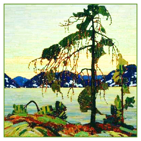Tom Thomson's White Pine Tree by Lake Ontario Canada Landscape Counted Cross Stitch or Counted Needlepoint Pattern