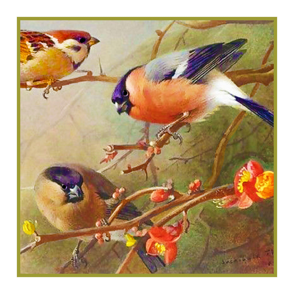 Sparrows and a Bullfinch By Naturalist Archibald Thorburn's Bird Counted Cross Stitch Pattern