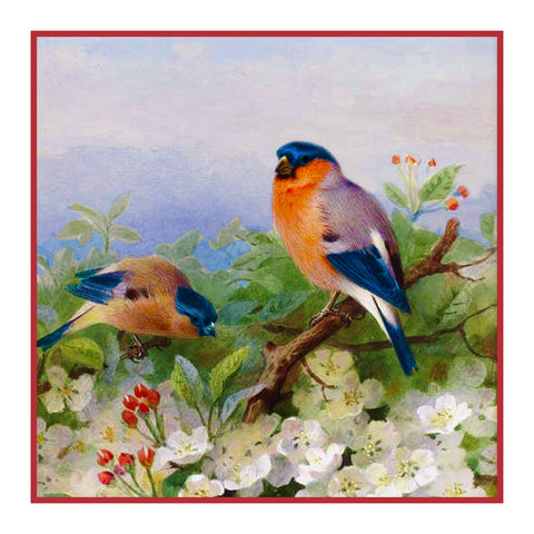 Bullfinches and Blossoms By Naturalist Archibald Thorburn's Counted Cross Stitch or Counted Needlepoint Pattern