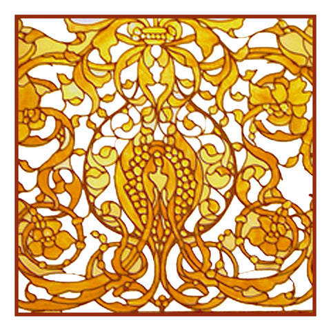Art Nouveau Decorative Screen detail inspired by Louis Comfort Tiffany  Counted Cross Stitch Pattern