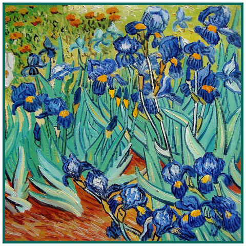 Irises in the Garden detail inspired by Impressionist Vincent Van Gogh's Painting Counted Cross Stitch Pattern DIGITAL DOWNLOAD